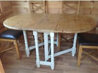 Refurbished pine table and four new oak dining chairs