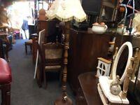 Vintage oak standard lamp