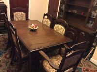 Dining Room Suite,Solid Dark Oak, Lge.Table 2 Carvers, 4 Chairs. Dresser,Glass, Display & Storage.