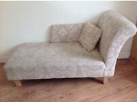 Argos patterned fabric chaise longue colour natural complete with pillo