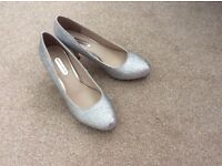 Silver high heels Size 6