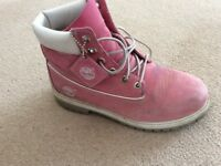Pink timberland boots size 5
