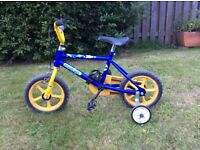 Blue kids bike with stabilisers age 3-4years