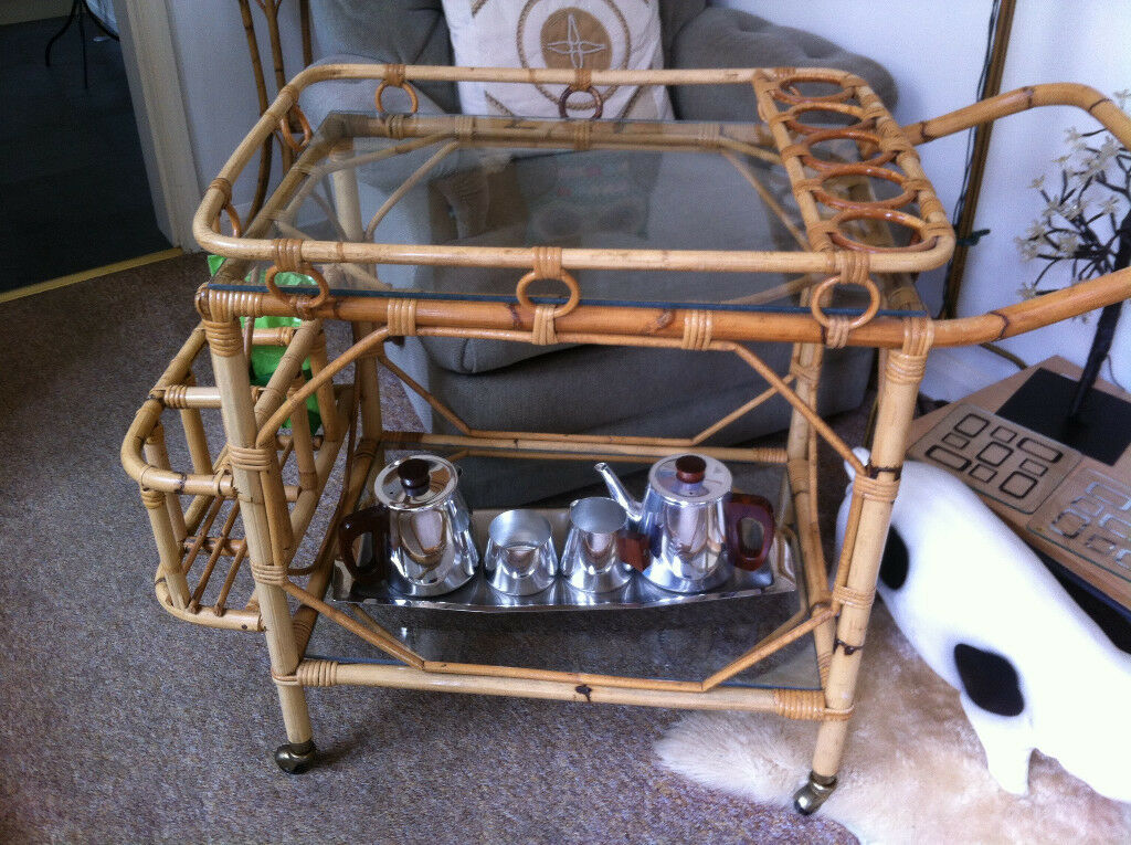 CANE AND GLASS DRINKS /TEA TROLLEY ON WHEELS BARGAIN