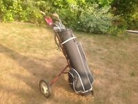 Golf trolley with 10. Clubs and a few golf balls. & pegs