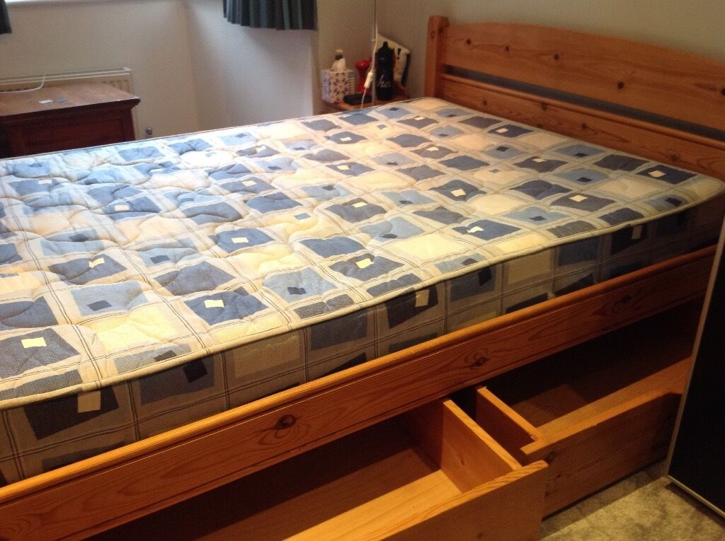 PINE DOUBLE BED AND 4 STORAGE DRAWERS