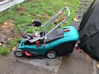 Bosch 37Li cordless lawnmower with grassbox and charger