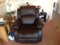 Electric recliner chair, dark brown leather