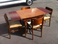 TEAK WOOD DRAW LEAF 5ft EXTENDING DINING TABLE & 4 CHAIRS ~~ CAN DELIVER TO WEST MIDLANDS