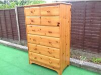 T A L L PINE CHEST 8 drawers