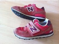 New Balance boys red trainers size 1