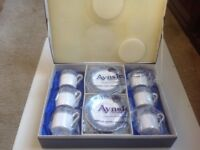 Aynsley Blue Mist vintage set of 6 coffee cups-and-saucers