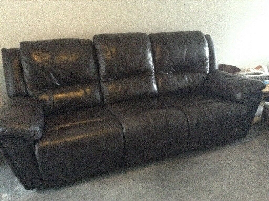 3 2 Seater Brown Leather Faux Leather Recliner Sofas In North
