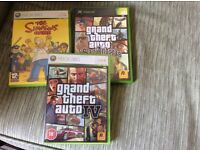 3 XBOX games Grand Theft Auto 4, Grand Theft Auto San Andreas and The Simpsons game