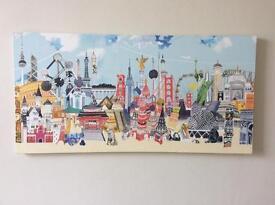 Canvas print - world cities - 100 x 50 cm