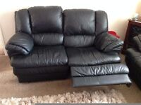 Black leather recliner sofa x2