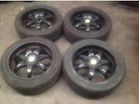 "SeT of Wolfrace 17"" Black Alloys & Tyres PCD 5 X110 FIT..VAUXHALL CORSA D,ASTRA MK5/6, VECTRA,SIGNUM"