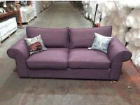 Linden 3 Seat Plum Fabric Sofa - Ex Display - £249 Including Free Local Delivery