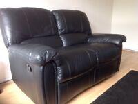 Black leather lounge set for sale