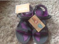 Hi Tech Aurora walking sandals New. Charcoal & purple