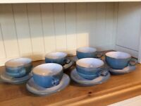 Immaculate Azure Blue Denby 6 Tea Cups & Saucers Collection.