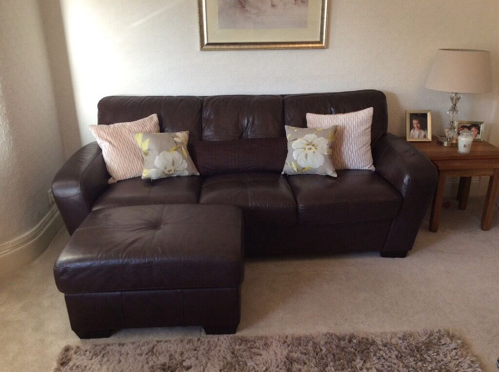 Chocolate Brown Leather Sofa Couch And Matching Footstool In Grangemouth Falkirk Gumtree