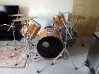 Pearl 4 piece drum kit with a Sabian Symbol set and a Janus double bass drum pedal