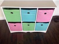 Colorful 6 basket storage unit