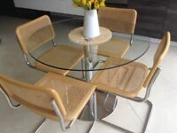 Ratton and chrome chairs X 4