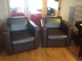 BARGAIN 2 matching genuine leather armchairs for sale - hardly used, excellent condition.