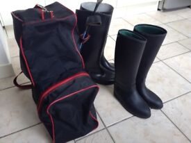 Riding boots, boot bag and crops