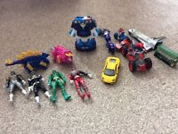 Transformer, Spider-Man on quad bike and power rangers