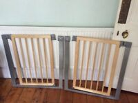 Matching wooden Mothercare child safety gates in metal frame with fixings