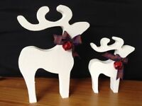 christmas star gazing reindeer decorations mother baby white stipple red bells red tartan ribbon