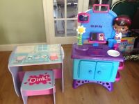 Doc mc stuffins work bench and peppa pig table and chair