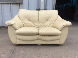Cream 2 Seater Leather Sofa £70 - Inc Free Local Delivery