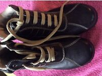 childrens girls black lace up boots bnwob size 35 2.5