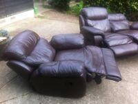 Lovely pair of matching soft brown leather reclining 2-seater and 1-seater sofas