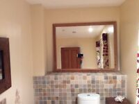 """Large pine mirror for sale height 39"""", 52"""" width. Very good condition £20"""