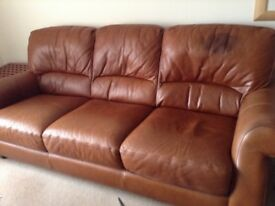 3 seat Leather sofa and chair
