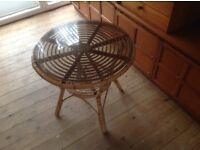 CANE CIRCULAR COFFEE TABLE AND CHAIR