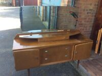 Walnut Vintage Dressing Table Restoration Project Mirror 2 Cupboards Three Drawers