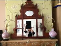 A Victorian mahogany over mantel mirror