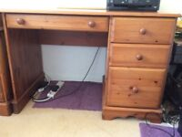 Wooden desk with drawers and filing cabinet