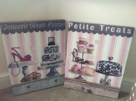 2 x shabby chic boudoir canvases.Cupcakes,shoes,pearls- beautiful!