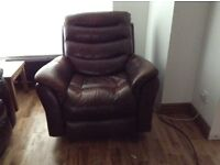 Brown leather reclining 3 piece suite very good condition