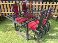 HIGH END METAL & GLASS COMPLETE DINING SET / TABLE AND CHAIRS