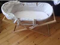 Moses basket, stand and 4 fitted sheets