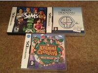 Nintendo ds games boxed - Animal Crossing, Sims 2 and Brain Training - £5 each