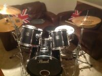 Pearl Export series drum kit with Sabian cymbals and hardware